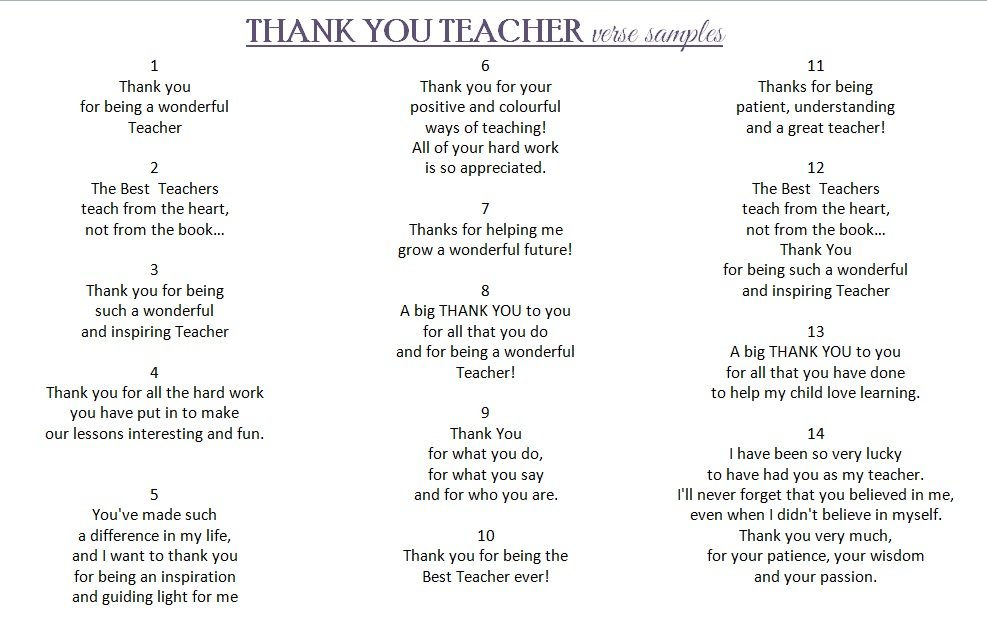 handmade thank you teacher card
