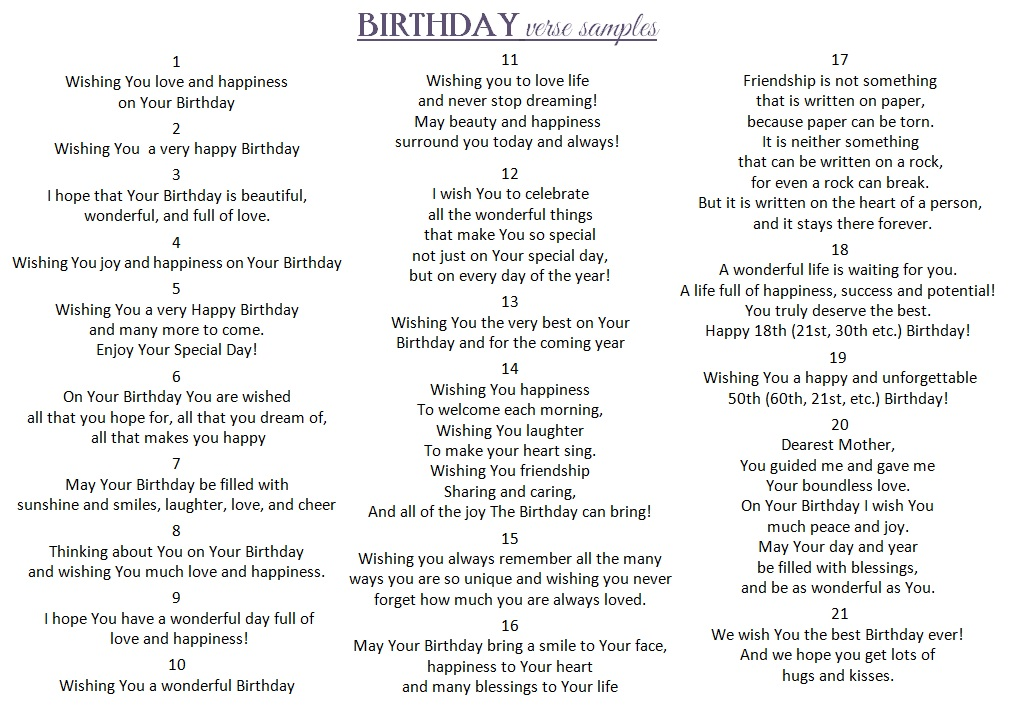 Verses For Birthday Cards gangcraftnet – Verses for 50th Birthday Cards