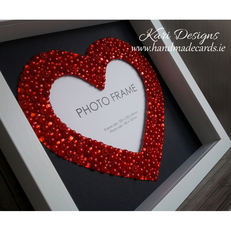 Handmade Photo Frame with beautiful red heart made from pearls and ...