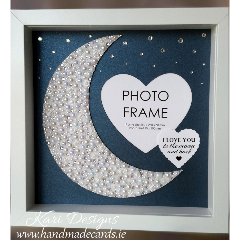 Handmade Photo Frame with shiny moon, made from pearls and diamonds.