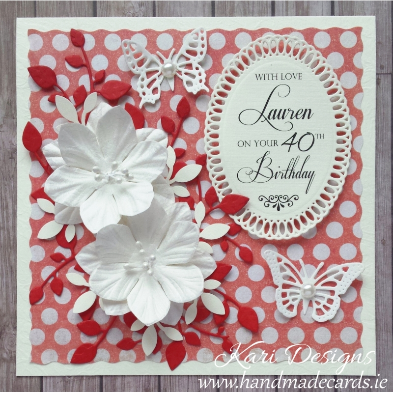 Handmade Birthday Vintage Style Card In Red Cream Off White Colours
